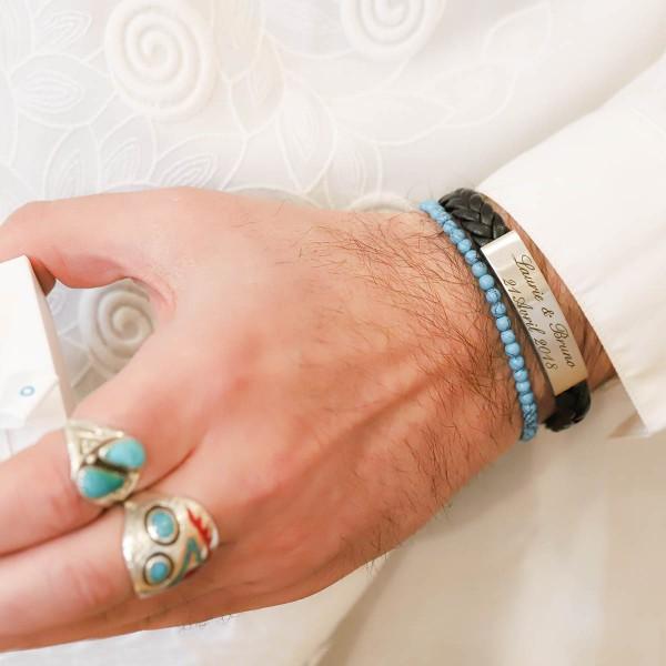 Bracelet gravé pour Homme en Acier Mat et Cuir Tressé