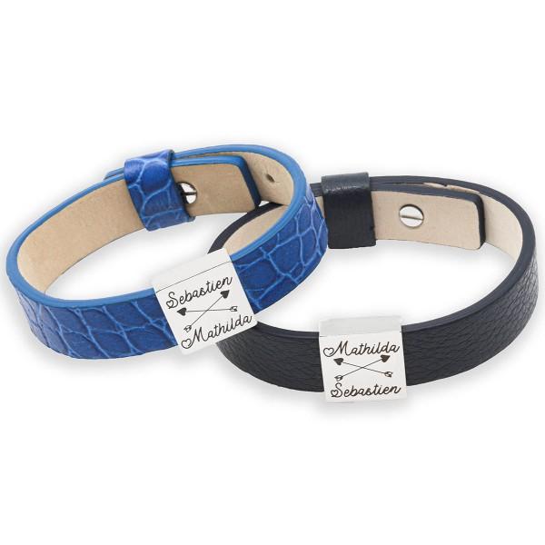Duo de Bracelet cuir et plaque carrée à graver