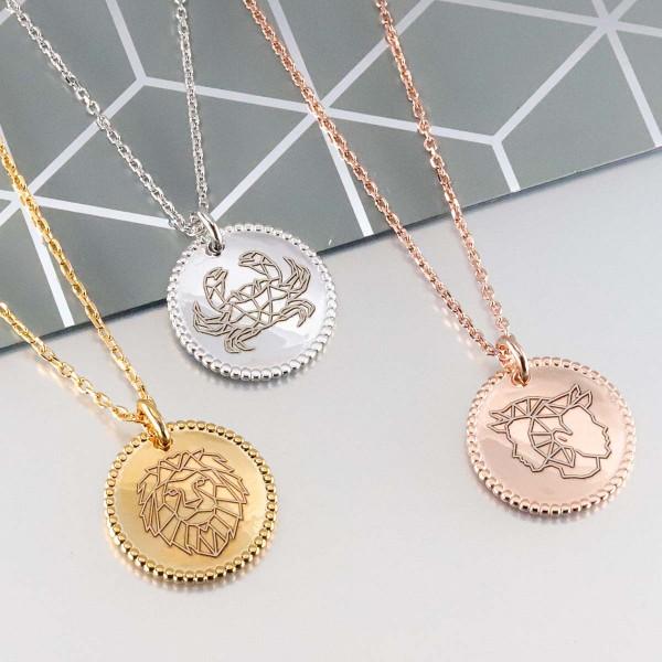 Collier Zodiaque et médaille perlée à personnaliser