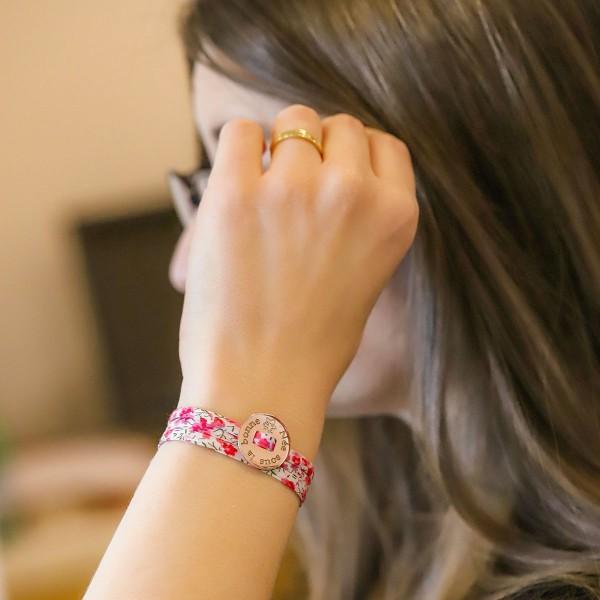 Bracelet Pastille Smiley triple tour à personnaliser