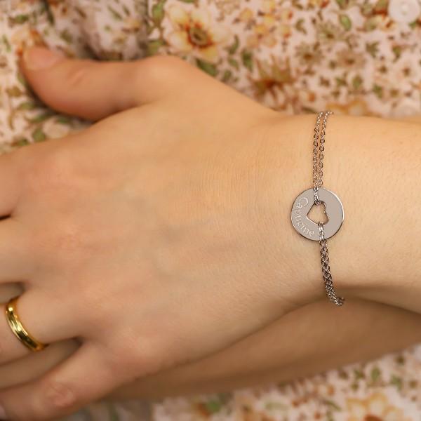 Bracelet gravé forme coeur en argent et lettre script