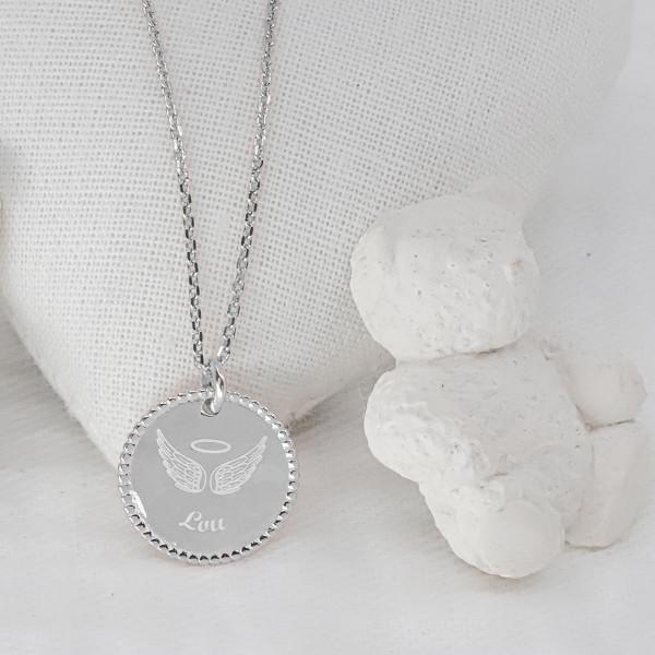 Collier Médaille Perlée Mon Ange à personnaliser
