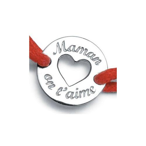 "Bracelet cordon gravé ""on t'aime maman"""