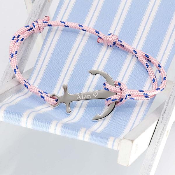 Bracelet personnalisé ancre sur cordelette marine