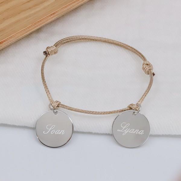 Bracelet 3 médailles lettre anglaise